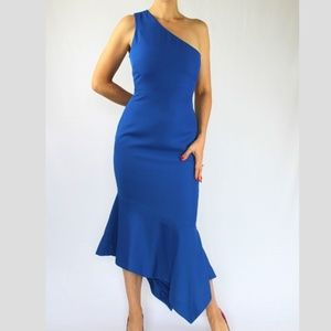 Venus One Shoulder Blue Body Con Tulip Dress